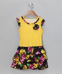 Look what I found on #zulily! Yellow & Black Floral Drop-Waist Dress - Infant & Toddler #zulilyfinds