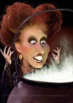 Caricatures by Marco Kap : Caricature of Winifred Sanderson (Bette Midler)