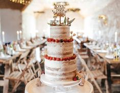 Three tier semi naked cake decorated with fresh fruit. Inspired By Iceland, Wedding Cakes, Wedding Venues, Nontraditional Wedding, Fresh Fruit, Cake Decorating, Red And White, Wedding Inspiration, Peach