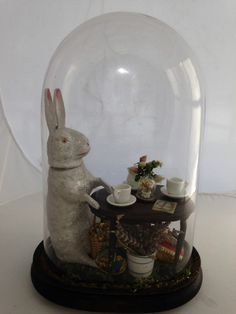 Antique Candy Container Glass Dome Easter Rabbit Germany Miniatures Vintage