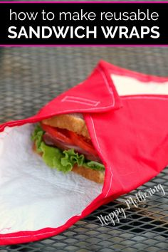 How to Make Reusable Sandwich Wraps with Velcro Closures - Happy Mothering Easy Sewing Projects, Sewing Projects For Beginners, Sewing Tutorials, Diy Projects, Fun Crafts For Kids, Craft Activities For Kids, Homemade Sandwich, Lunch Items, Reusable Sandwich Bags