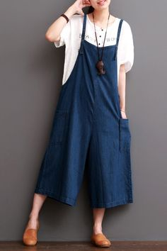 """Cowboy Blue Causel Loose Overalls Big Pocket Trousers Women ClothesClothes will not shrink,loose Cotton fabric, soft to the touch.*Care: hand wash or machine wash gentle, best to lay flat to dry.*Material: Cotton Linen Weight:400g*Colour:Photo colour*Model size: Height/Weight: 168cm/49kg B/W/H(cm):84/68/90*Measurement(It can fit size M,L well.)Waist: 114cm / 45""""Hip: 124cm / 49""""Maximum Thigh Circumference: 80cm / 31""""Leg Openging:76cm / 30""""Length: 118cm…"""