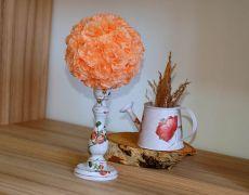 Aranjament masa flori piersica pentru nunti si botezuri