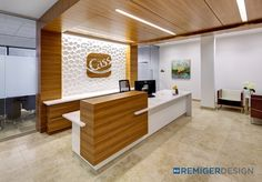 Reception Desk - Cass Information Systems Corporate Headquarters - St. Louis, MO Textured Wall Panels, Decorative Wall Panels, 3d Wall Panels, Storage Chest, Sculpting, Dental, Spa, Reception, Waiting Rooms