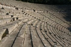 According to Pausanias, the ancient theatre was constructed by the architect Polykleitos the Younger. It is considered to be the most perfect ancient Greek theatre with regard to acoustics and aesthetics. Greek Gods And Goddesses, Greek Mythology, Ace One Piece, Ancient Greek Theatre, Greek Pantheon, Acropolis, Character Aesthetic, Dionysus, Hades