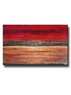 """Stunning #Art Large Abstract Red Painting """"Devotion"""" to enhance  and bring color to your room decor! Large Giclee Print, Canvas Prints Modern Urban Wall Art Brown Gold Coastal Home Wall Decor XL sizes up to 60"""" Contemporary Beach Decor , Holiday Gift, Home Interior Design - by Internationally Collected, Artist, Christine Krainock - Contemporary Art by Christine"""