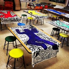 Love this idea! Keith Haring was involved in many youth art projects. This would be a great way to introduce students to his style. Group Art Projects, Middle School Art Projects, Collaborative Art Projects For Kids, Art Education Projects, Preschool Art Projects, Art Lessons For Kids, Art Lessons Elementary, Elementary Art Rooms, Elementary Art Education
