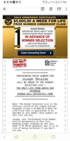 Promotion Card, Congratulations To You, Publisher Clearing House, Important News, First Step, The Selection, Vip, Numbers, Places