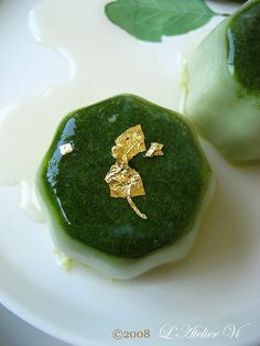 matcha panna cotta with elderflower syrup . by L' Atelier Vi, via Flickr