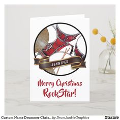 Personalize this cool drumming card with the name of your favorite Rock Star! Features a beautiful red drum kit and drum sticks. #drummerchristmas #snaredrum #drumsticks #drumjunkie