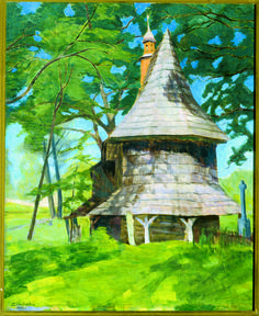 The Old Wooden Church - by Marcin Franciszek Samlicki, ca. 1932; oil on canvas; donated by Dr. Anthony Mallek, 1960.