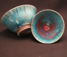 Turquoise and red raku bowl, from Orkney