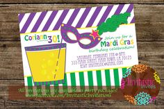 Mardi Gras Birthday Party Invitation  Mardi by InvitasticInvites
