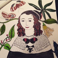 This is the artist and scientist Maria Sibylla Merian who lived in the 17th century. She was the first woman traveling to Surinam and drawing insects and plants. Very inspiring  #insect #nature #art #bookart #inspiringwoman #scienceillustration #illustration #butterflies #bug #artist #mariamerian #naturelovers #worldbutterlies #portrait #wip #watercolor #naturalhistory #womeninscience #study #sheloved #scientist #sciencehistory #workingwoman #entrepreneurlife #paradise #instaart…