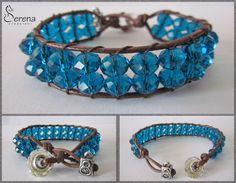 Gioielli fatti a mano, bijoux realizzato con perline in strass blu, cordino marrone in cotone cerato, chiusura a bottone - Serena Creazioni, bijoux artigianali.