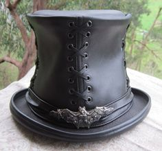 Black leather Victorian Corset style   Steampunk   Gothic   Emo style Top  Hat w. 276980bc44c1