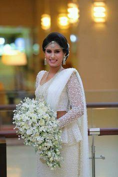 Dressed Dhananjaya Bandara Bridal Wedding Dresses, White Wedding Dresses, Saree Wedding, Wedding Wear, Designer Wedding Dresses, Wedding Bride, Bridal Sarees, Christian Wedding Sarees, Bridesmade Dresses