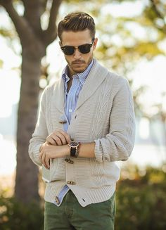 Men's Outfit Inspiration: Nautica Cable Knit Shawl Collar Cardigan as seen on Adam Gallagher from IAMGALLA.com