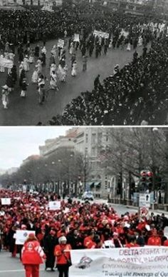 Women's Suffrage March 1913 and the Reenactment March 2013.  1913 DST in the back, 2013 DST leading the march.