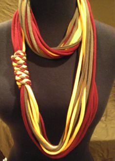 multicolor tshirt scarf necklace with by fiberfanaticfandango, $20.00