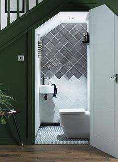 downstairs loo Vernice Storm tiles, Walls and Floors Small Downstairs Toilet, Small Toilet Room, Downstairs Bathroom, Small Toilet Design, Bathroom Design Small, Bathroom Interior Design, Toilet Tiles Design, Bad Inspiration, Bathroom Inspiration