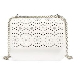 Women's Chelsea28 Dahlia Perforated Faux Leather Shoulder Bag (€65) ❤ liked on Polyvore featuring bags, handbags, shoulder bags, white snow, faux leather purses, laser cut purse, white purse, perforated handbags and shoulder handbags