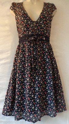 SOLD!! DEREK HEART Medium Black Chintz Floral Cotton Summer Dress Lined Cap Sleeve #DerekHeart #TeaDress