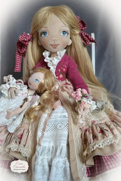 Pollyanna with a doll and a bouquet of roses. Pollyanna