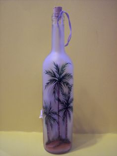 Palm Tree Lighted  Wine Bottle. $20.00, via Etsy.