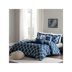 Madison Park Merritt Full/Queen 6 Piece Reversible Duvet Cover Set in Navy - Olliix Park Merritt provides a classic look to your bedroom. The fretwork design features a white design on a navy blue base. This set is completely reversible t Bed Duvet Covers, Duvet Sets, Duvet Cover Sets, Comforter Set, Pillow Shams, Queen Duvet, King Duvet, California King, Stores