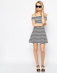 Bardot striped dress