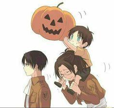 Happy Halloween, Levi, Eren, Hanji, young, childhood, cute, pumpkin, funny; Attack on Titan