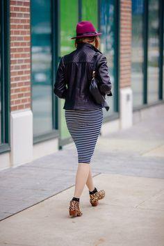 Stride in Stripes: #katespadeny // leopard shoes #samedelman petty #zappos // purple hat #mickeysgirl // quilted leather jacket #calvinklein // stripe dress #mickeysgirl // studded socks #jcrew
