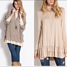•layering tunic•doeskin• Ruffled hem layering top.  3/4 sleeves.  Material is 95% rayon and 5% spandex.  Small bust 34 inches, 32 inches long.  Medium bust 36 inches, 32 inches long.  Large bust 38 inches, length 33 inches long.  PRICE IS FIRM UNLESS BUNDLED. PHOTO ON LEFT IS To show it styled. COLOR IS DOESKIN shown on right. Dresses