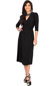 KOH KOH Womens 3/4 Sleeve V-Neck Wrap Knee Length Semi Formal Long Midi Dresses