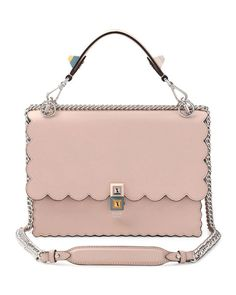 Fendi Kan I Scalloped Leather Shoulder Bag, Pink