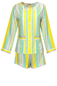 Yellow, mint, white and grey stripes printed shirt and shorts set available only at Pernia's Pop Up Shop.#perniaspopupshop #shopnow #happyshopping #designer #newcollection #sleepwear #flirtatious