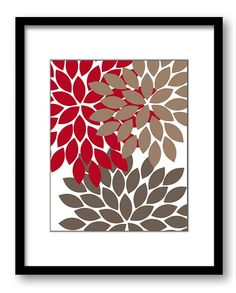 INSTANT DOWNLOAD Flower Print Red Brown Beige Chrysanthemum Flowers Print Wall Decor Modern Minimalist Kitchen Living Room Bathroom Bedroom