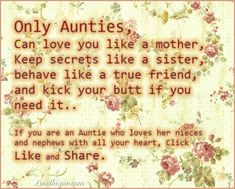 Only Aunties quotes family quote floral family quote family quotes aunt auntie
