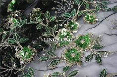 """Delicate Green Embroidery Sequins Blossom Cheongsam Dress Lace Mesh Fabric53""""/Yd #Unbranded"""