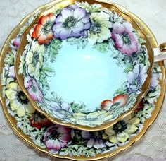 Vintage Paragon Cabinet Bone China Tea Cup Wild Anemone