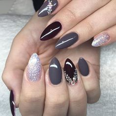#newnails #rougenoir #color #glitter #crystals #stiletto #almond #instanails #nailsofinstagram #wintertime #deeptaupe #taupe #nailart #naildesign #nailartclub #nailartaddict #colorful
