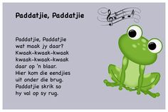 Paddatjie, Paddatjie - Kinderrympies in Afrikaans Rhyming Activities, Preschool Songs, Teaching Activities, Preschool Learning, Kids Rhymes Songs, Songs For Toddlers, Rhymes For Kids, Free Printable Alphabet Worksheets, School Rhymes