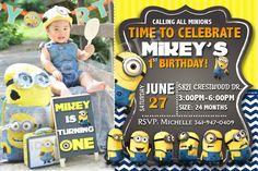 Invitan a Minion por InvitesByVal en Etsy Digital Invitations, Printable Invitations, Birthday Invitations, Minion Theme, Mobile Photos, Time To Celebrate, Digital Image, Minions, Rsvp