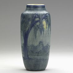ANNA FRANCES SIMPSON  NEWCOMB COLLEGE  Scenic vase with live oak, Spanish moss, full moon, New Orleans, 1919