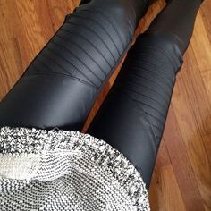 Leather moto leggings a slouchy knit sweater Gothic Leggings, Biker Leggings, Moto Pants, Leggings Sale, Cheap Leggings, Leather Leggings, Printed Leggings, Latest Fashion For Women, Womens Fashion