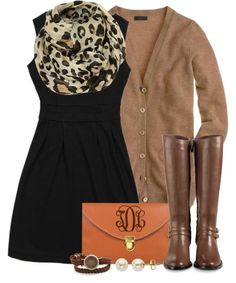 LBD. Leopard scarf. Tan cardigan. Brown boots