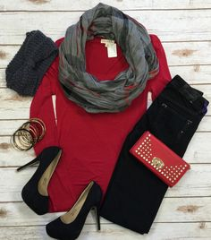 Long Sleeve Basic Scoop Tee: Red from privityboutique