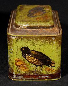 Vintage Peter Ompir Tole Ware Painted Tin Box Tea Caddy Black Birds Signed N R | eBay