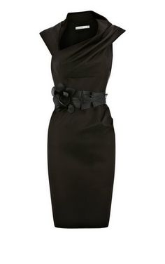 Karen Millen Orchid Corsage Fitted Dress Black